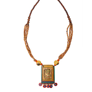 'Tribal Dhokra Woman' Bohemian Brass Necklace Handmade In Dhokra Art (Brass, Wood, Matinee)