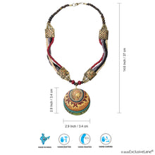 Load image into Gallery viewer, 'Tribal Dhokra Lady' Bohemian Brass Necklace Handmade In Dhokra Art (Brass, Wood, Matinee)