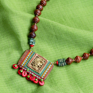 'Tribal Dhokra Girl' Bohemian Brass Necklace Handmade In Dhokra Art (Brass, Wood, Matinee)