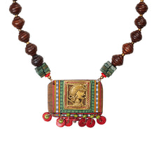 Load image into Gallery viewer, 'Tribal Dhokra Girl' Bohemian Brass Necklace Handmade In Dhokra Art (Brass, Wood, Matinee)
