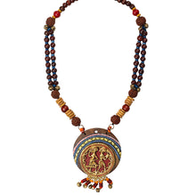Load image into Gallery viewer, 'Tribal Dhokra Women' Bohemian Brass Necklace Handmade In Dhokra Art (Brass, Wood, Matinee)
