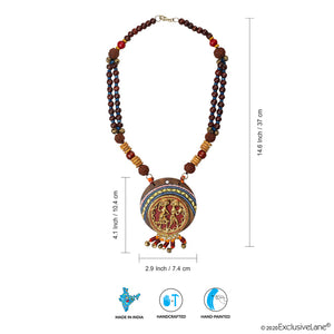 'Tribal Dhokra Women' Bohemian Brass Necklace Handmade In Dhokra Art (Brass, Wood, Matinee)