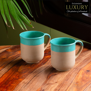 'Earthen Turquoise' Hand Glazed Tea & Coffee Mugs In Ceramic (Set of 2, 360 ML, Microwave Safe)