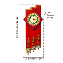 Load image into Gallery viewer, Warli Handpainted and Dhokra Work Zigzag Clock 16*7 Inch Red