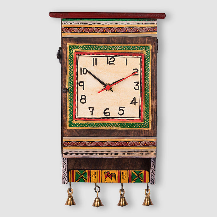 Warli Handpainted Wooden Clock Cum Key Holder