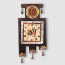 Load image into Gallery viewer, Warli Handpainted  Wooden Zig-Zag Clock