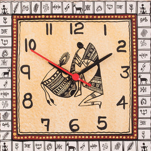 Warli Handpainted  Wooden Zig-Zag Clock