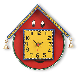 Warli Handpainted Wooden Face Clock