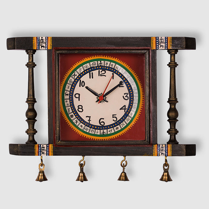 'Tribal Timing' Warli Hand-Painted Wall Clock In Teak Wood
