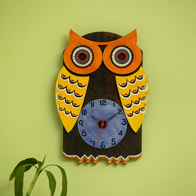 'Owl Shaped' Wooden Handcrafted Wall Clock