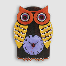 Load image into Gallery viewer, 'Owl Shaped' Wooden Handcrafted Wall Clock