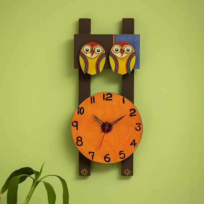 'Twin Owl Motif' Wooden Handcrafted Wall Clock