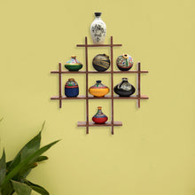 Load image into Gallery viewer, 8 Terracotta Warli Handpainted Pots With Sheesham Wooden Frame Wall Hanging