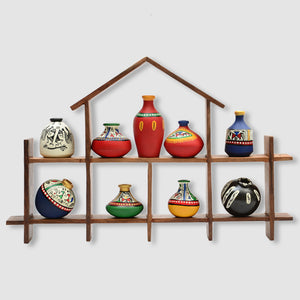 9 Terracotta Warli Handpainted Pots With Sheesham Wooden Hut Frame Wall Hanging