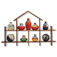 Load image into Gallery viewer, 9 Terracotta Warli Handpainted Pots With Sheesham Wooden Hut Frame Wall Hanging