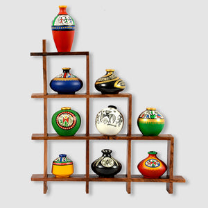 9 Terracotta Warli Handpainted Pots With Sheesham Wooden Frame Wall Hanging