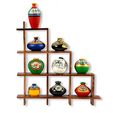 Load image into Gallery viewer, 9 Terracotta Warli Handpainted Pots With Sheesham Wooden Frame Wall Hanging