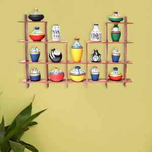 16 Terracotta Warli Handpainted Pots With Sheesham Wooden Frame Wall Hanging