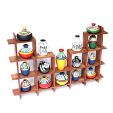 Load image into Gallery viewer, 16 Terracotta Warli Handpainted Pots With Sheesham Wooden Frame Wall Hanging