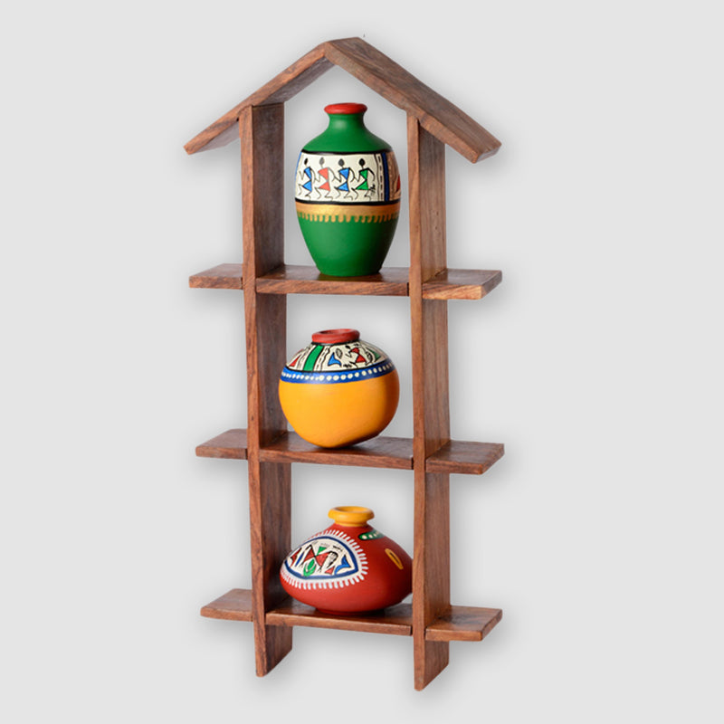 3 Terracotta Warli Handpainted Pots With Sheesham Wooden Hut Frame Wall Hanging