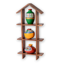 Load image into Gallery viewer, 3 Terracotta Warli Handpainted Pots With Sheesham Wooden Hut Frame Wall Hanging