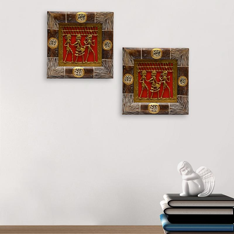 Wood Brass Dhokra Warli Art Wall Decor Set Online In India Wall Decor Exclusivelane