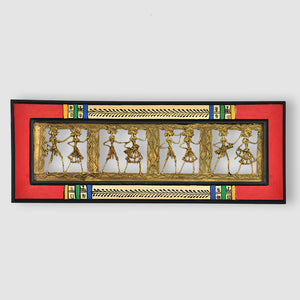 Dhokra Work And Warli Handpainted Horizontal Wall Décor