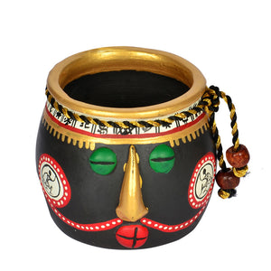 Terracotta Warli Handpainted Face Pots With Wooden Shelf Wall Décor