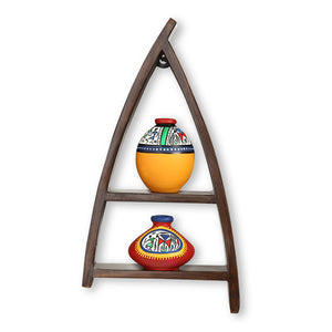 Wooden Wall Shelves With Handpainted Terracotta Pots