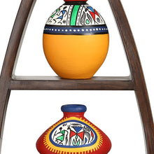 Load image into Gallery viewer, Wooden Wall Shelves With Handpainted Terracotta Pots