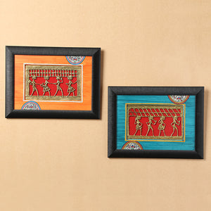 Sunset Orange & Ocean Blue Handpainted Warli & Dhokra Rectangular Wall Painting Set