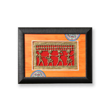 Load image into Gallery viewer, Sunset Orange & Ocean Blue Handpainted Warli & Dhokra Rectangular Wall Painting Set