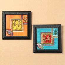 Load image into Gallery viewer, Sunset Orange & Ocean Blue Handpainted Warli & Dhokra Square Wall Painting Set