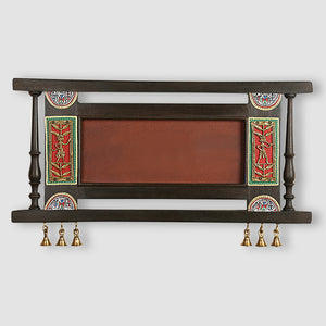 Teak Wood Plain Name Plate With Warli & Dhokra Art