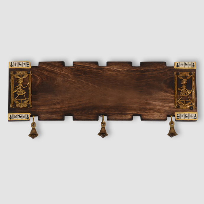 Wooden Plain Name Plate With Warli & Dhokra Art