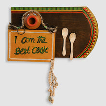 Load image into Gallery viewer, 'Happy Cooking' Hand-Painted Wooden Wall Signage Hanging With Terracotta Pot