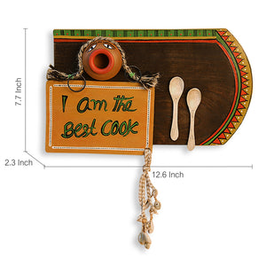 'Happy Cooking' Hand-Painted Wooden Wall Signage Hanging With Terracotta Pot