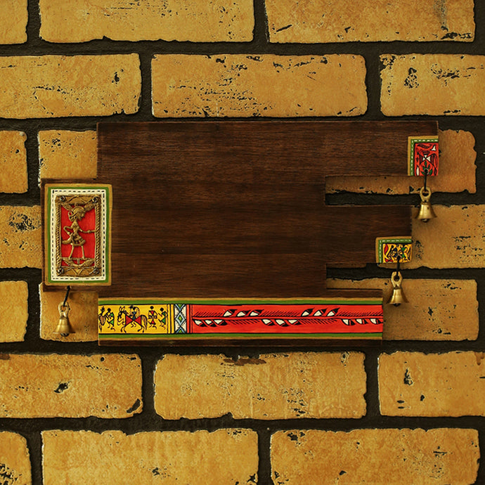 'Art In A Name' Warli & Dhokra Plain Name Plate In Sheesham Wood