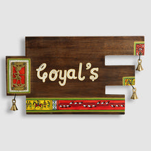 Load image into Gallery viewer, 'Art In A Name' Warli & Dhokra Customizable Sheesham Wood Name Plate With Handwritten Fonts