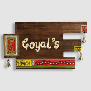 'Art In A Name' Warli & Dhokra Customizable Sheesham Wood Name Plate With Handwritten Fonts