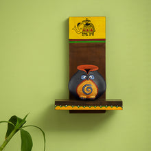 Load image into Gallery viewer, Terracotta 'Owl Face Pot' With Wooden Wall Shelf
