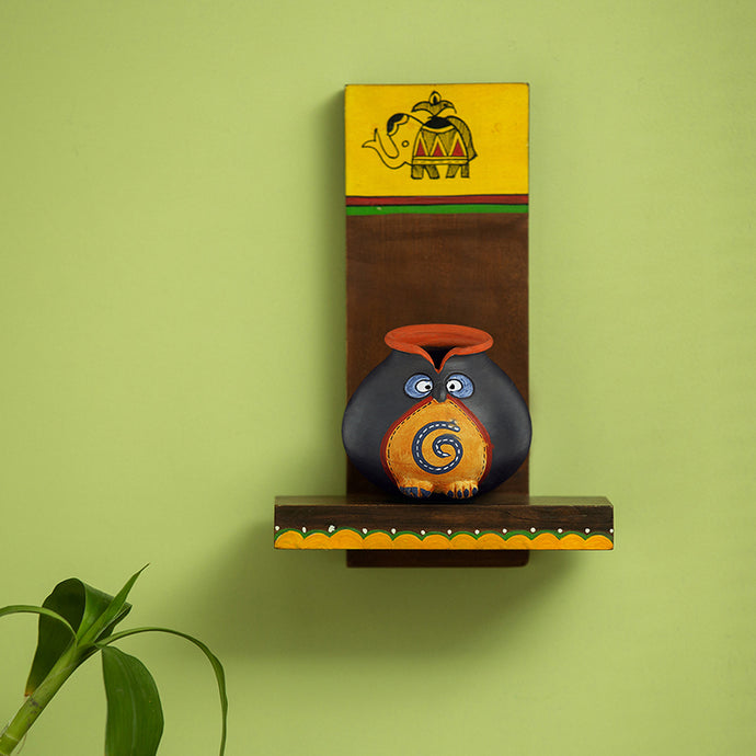 Terracotta 'Owl Face Pot' With Wooden Wall Shelf