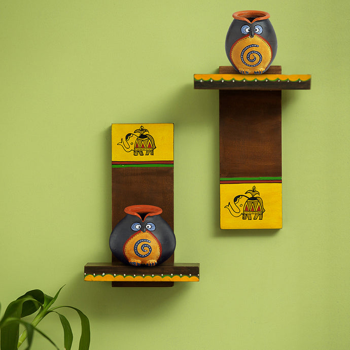 Terracotta 'Twin Owl Pot-Faces' With Wooden Wall Shelves