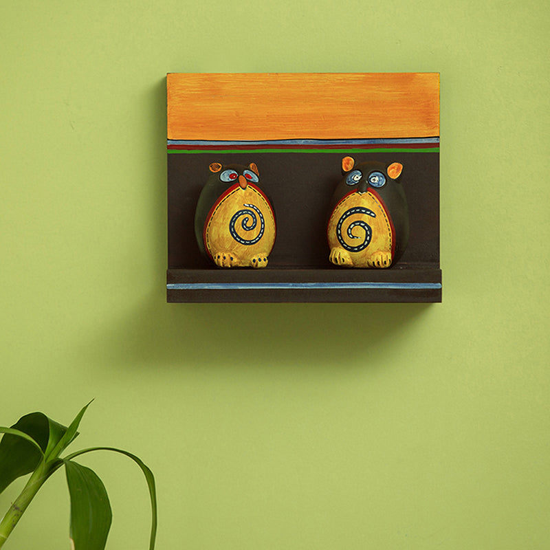 Terracotta 'Twin Owl Pot-Faces' With Wooden Wall Shelf