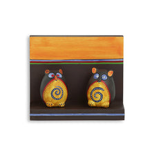 Load image into Gallery viewer, Terracotta 'Twin Owl Pot-Faces' With Wooden Wall Shelf