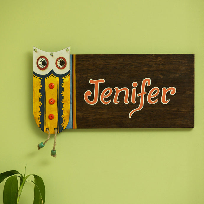 'Owl Motif' Customizable Wooden Name Plate (Handwritten Fonts)