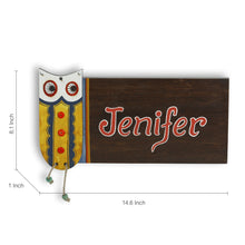 Load image into Gallery viewer, 'Owl Motif' Customizable Wooden Name Plate (Handwritten Fonts)