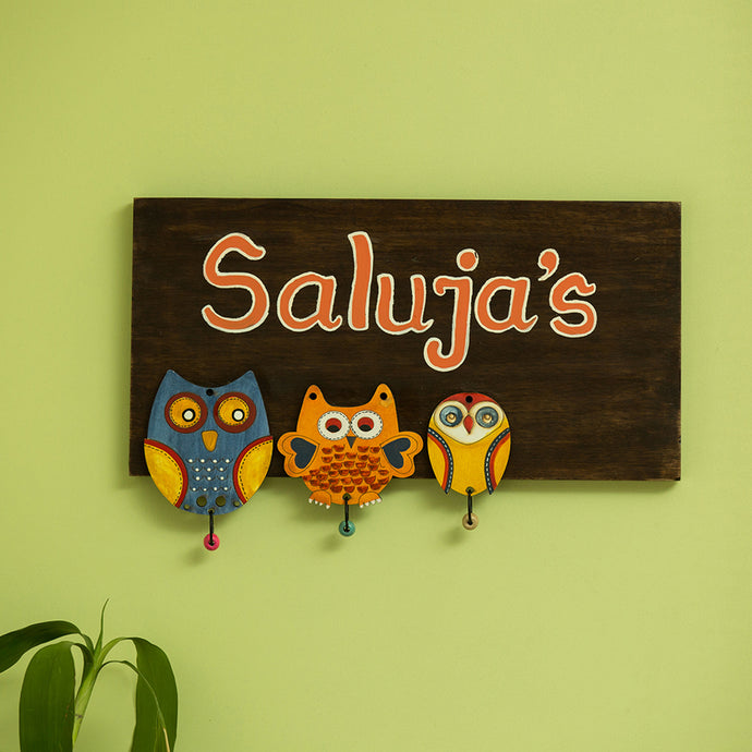 'Triple Owl Motifs' Customizable Wooden Name Plate (Handwritten Fonts)