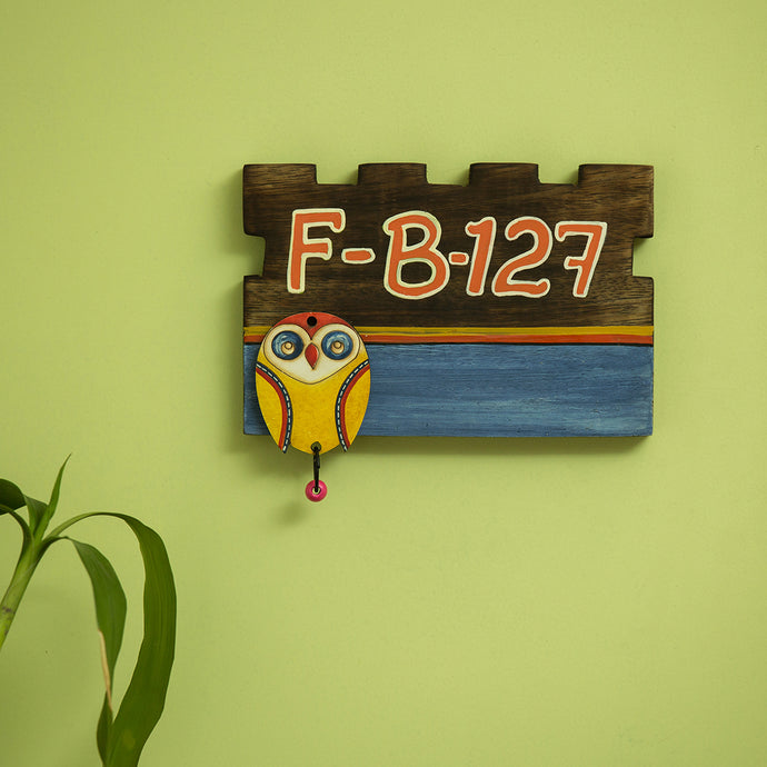 'Owl Motif' Customizable Wooden Address Plate (Handwritten Fonts)