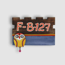 Load image into Gallery viewer, 'Owl Motif' Customizable Wooden Address Plate (Handwritten Fonts)